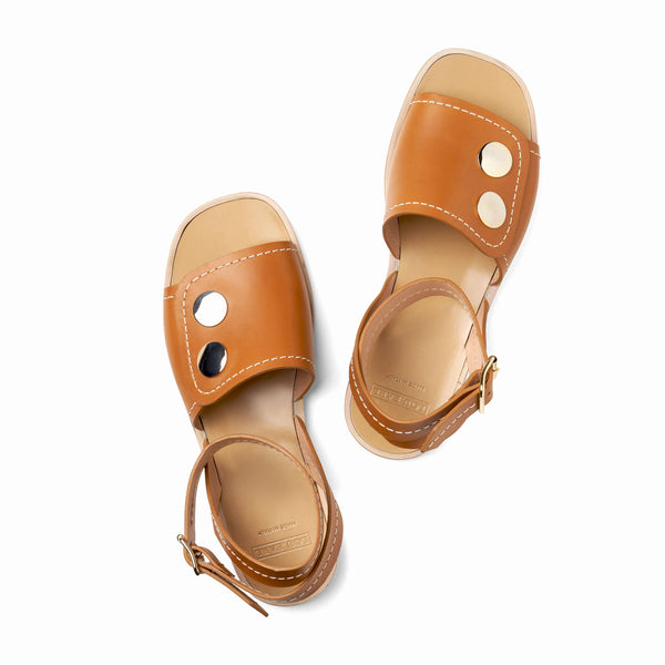 womens flat thick leather sandals with ankle strap and well covered vamp