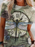 Dragonfly Print Women T-shirt