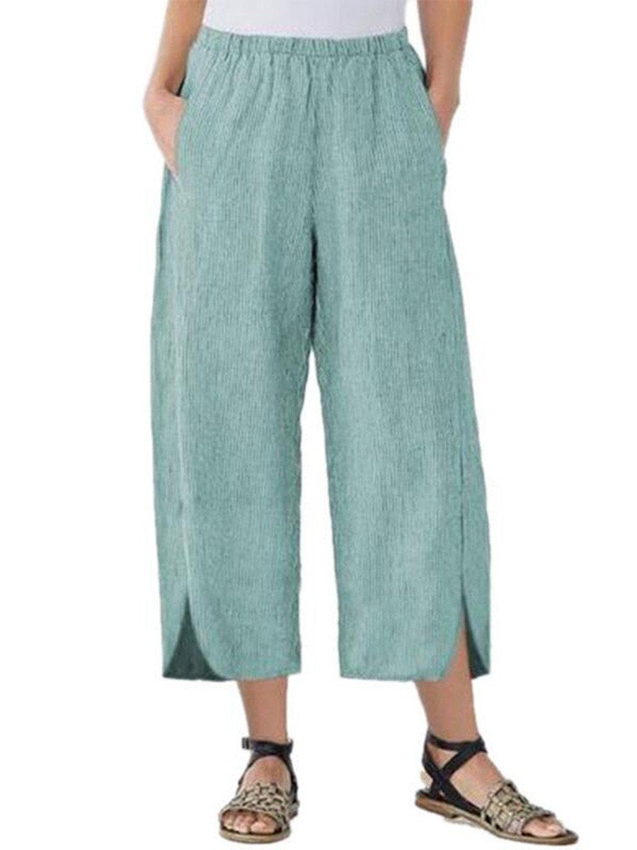 Womens Slim Wide Leg Pants Green / S
