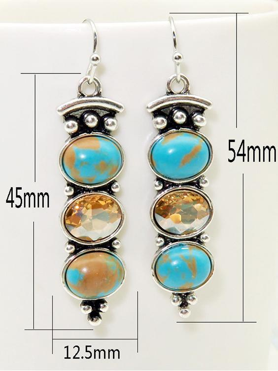 Turquoise Champagne Crystal Long Women's Earrings