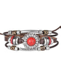 Copper Tube Beaded Pine Stone Inlaid Diamond Leather Women's Bracelet
