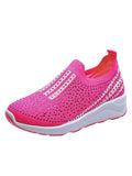 Rhinestone Mesh Flat Womens Shoes Rosered / 35