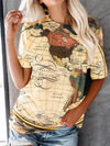 Wooden Map Print Women T-Shirt