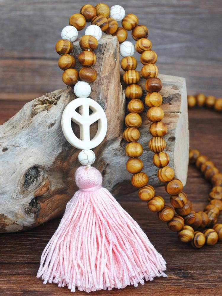 Tassel Wood Bead Length Women's Necklace