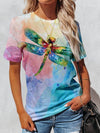 Watercolor Dragonfly Woman T-Shirt Colorful / S