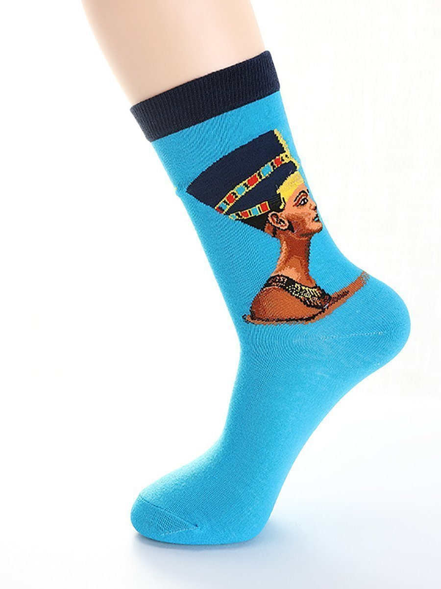 Egyptian Statue Printed Stockings Blue Bottoms