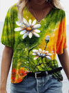 Flower Painting Print Women T-Shirt Colorful / S