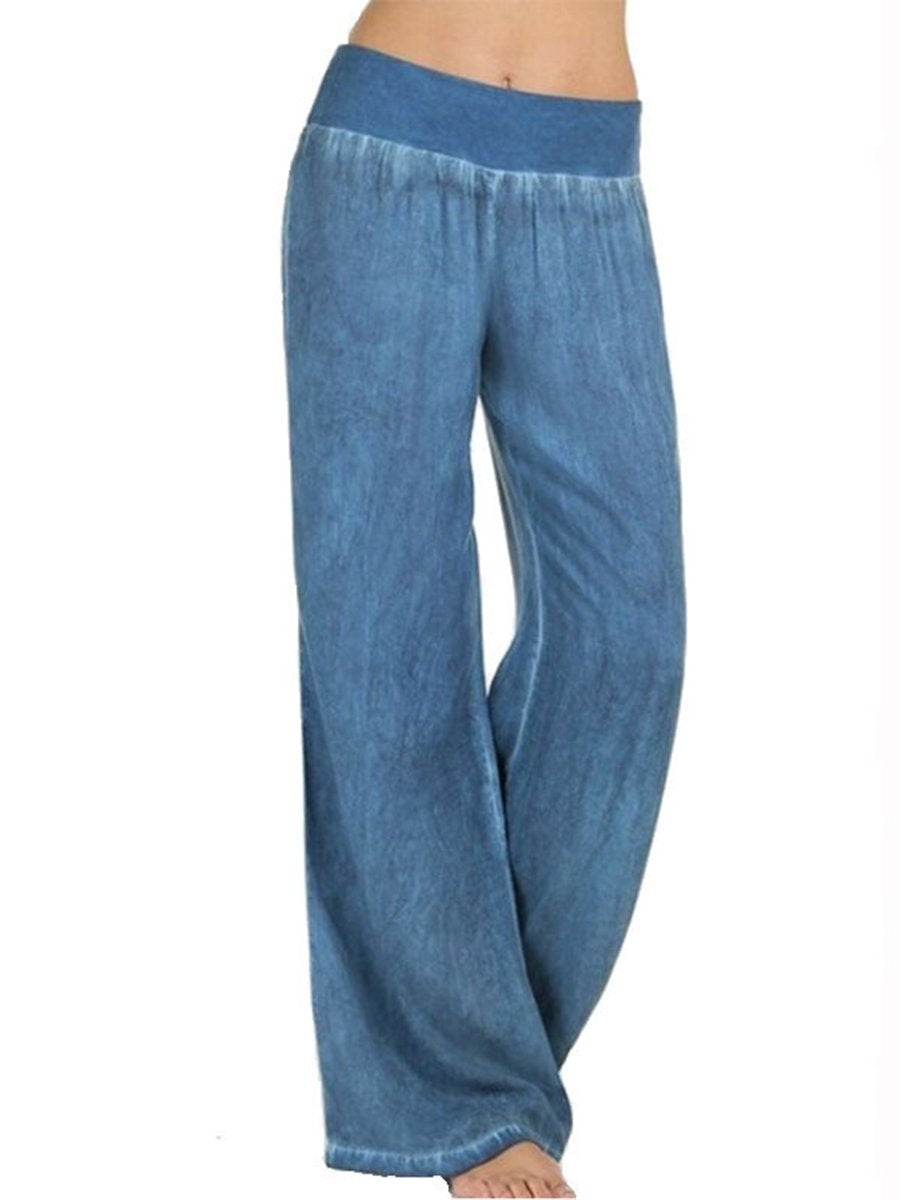 Womens Large Casual Wide Leg Pants Light Blue / S