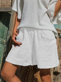 Womens Solid Color Cotton Linen Trouser Skirt White / S