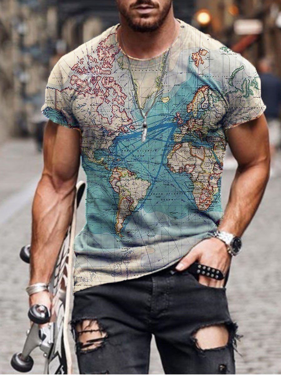 Men's Map Print T-shirt