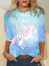 Unicorn Print Women T-Shirt Colorful / S