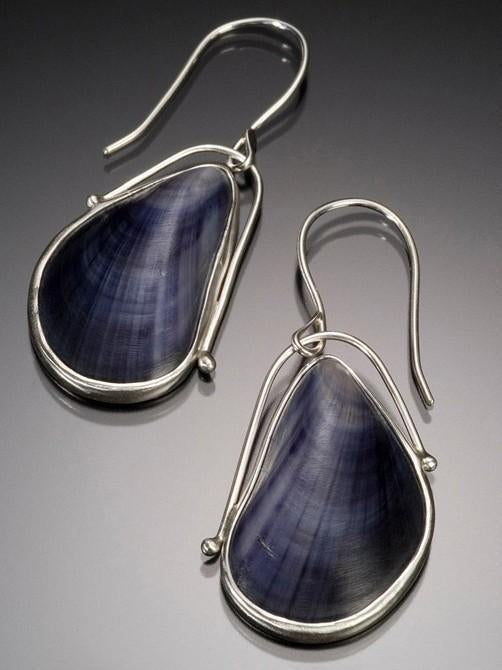 Mussel Blue Shell Women's Earrings