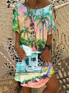 Hawaiian Beach Print Dress