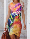 Watercolor Painting Ruched Knit Tank Dress Colorful / S