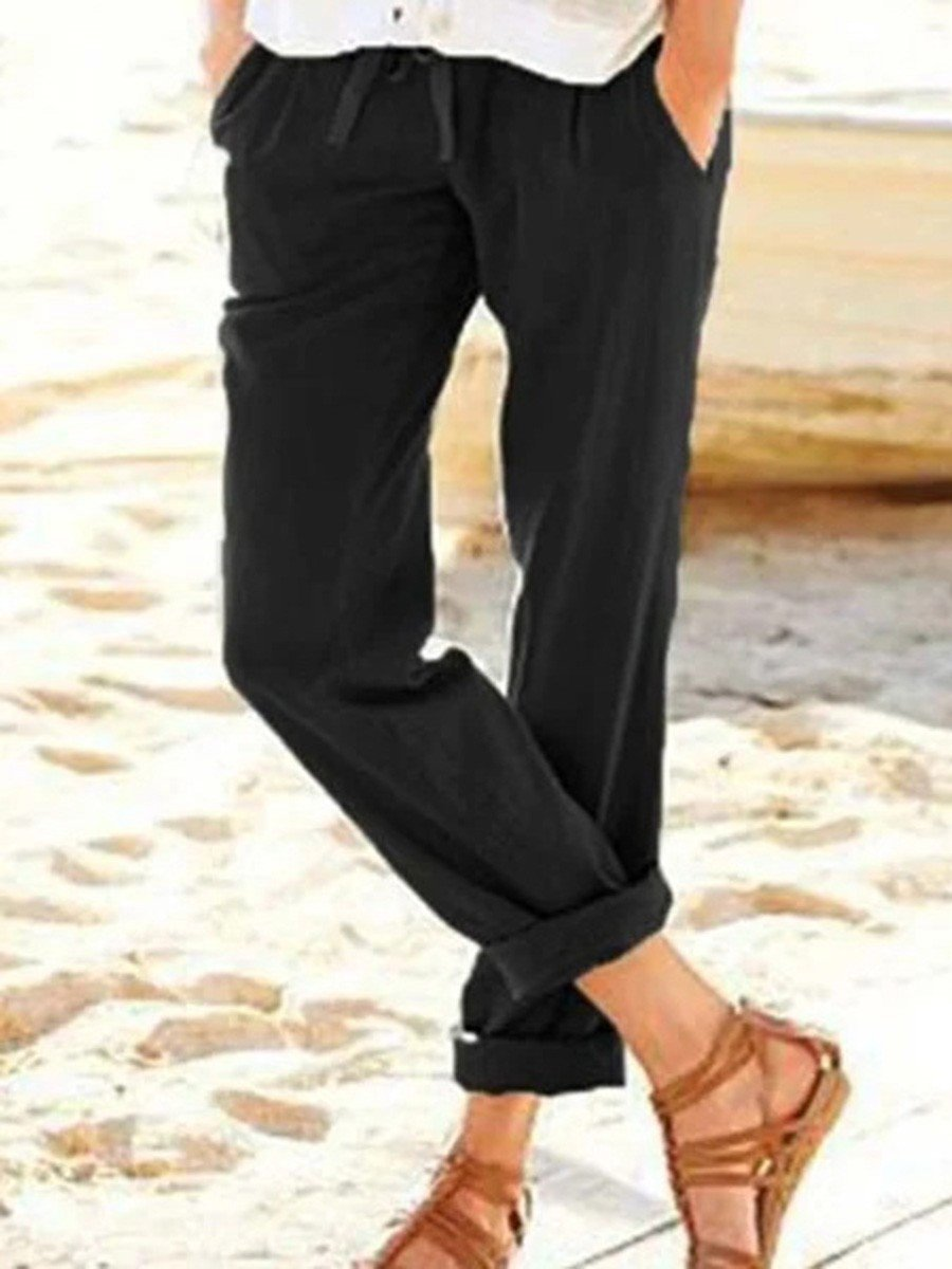 Womens Solid Loose Straight Pants Black / S