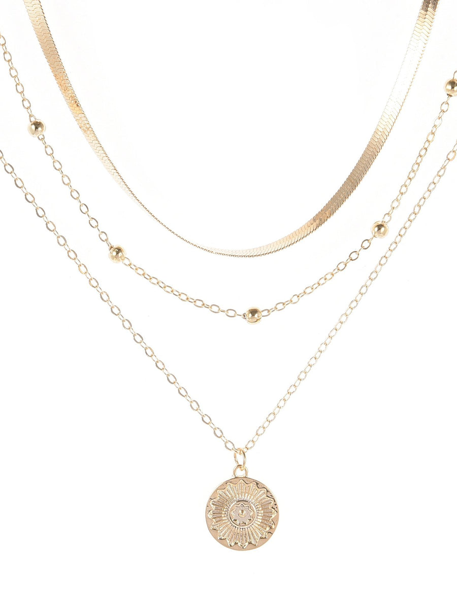 Multi Layer Lotus Pendant Necklace