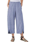 Womens Slim Wide Leg Pants Blue / S