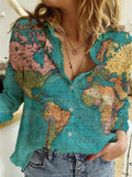 Vintage Map Of The World Painting Print Blouse