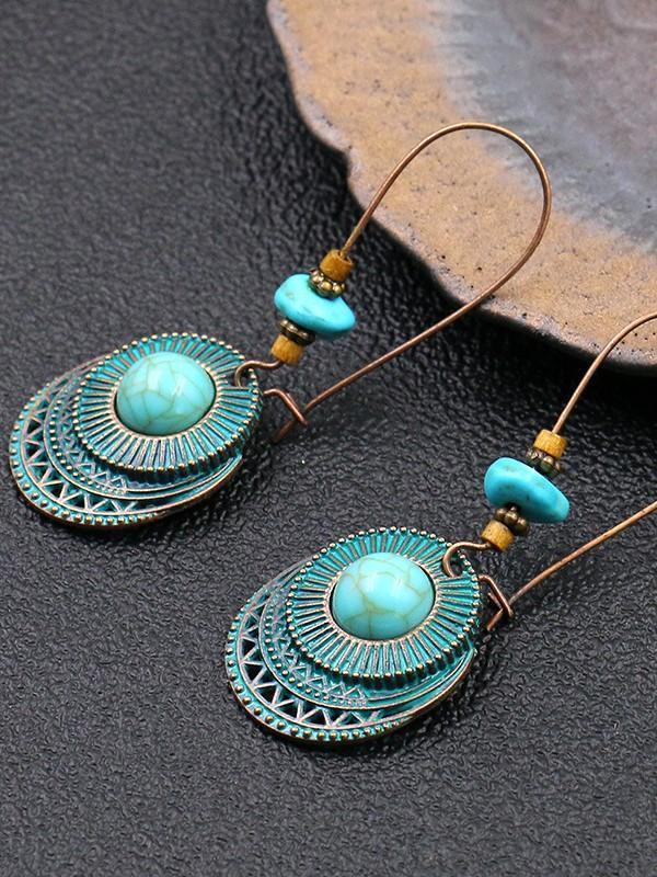 Round Turquoise Women's Earrings