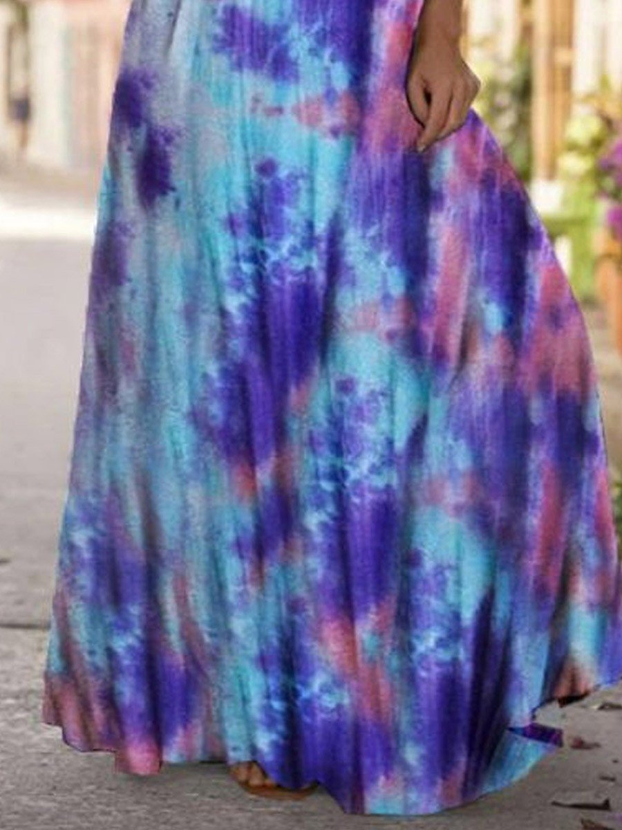 Positioning Printing Long Casual Loose Dress