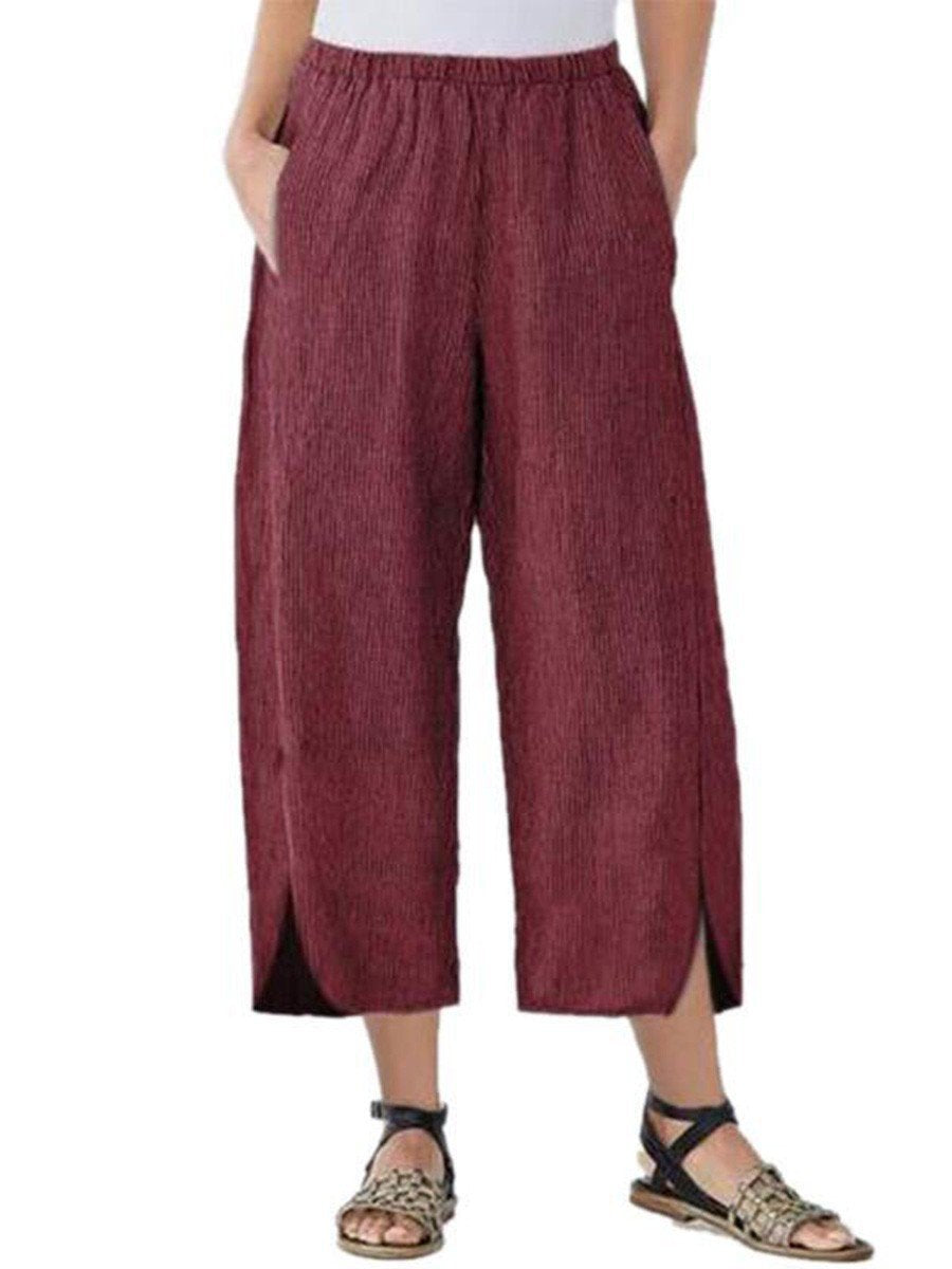 Womens Slim Wide Leg Pants Claret / S