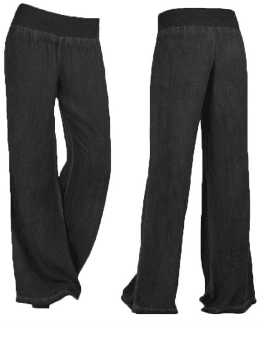 Womens Large Casual Wide Leg Pants Black / S