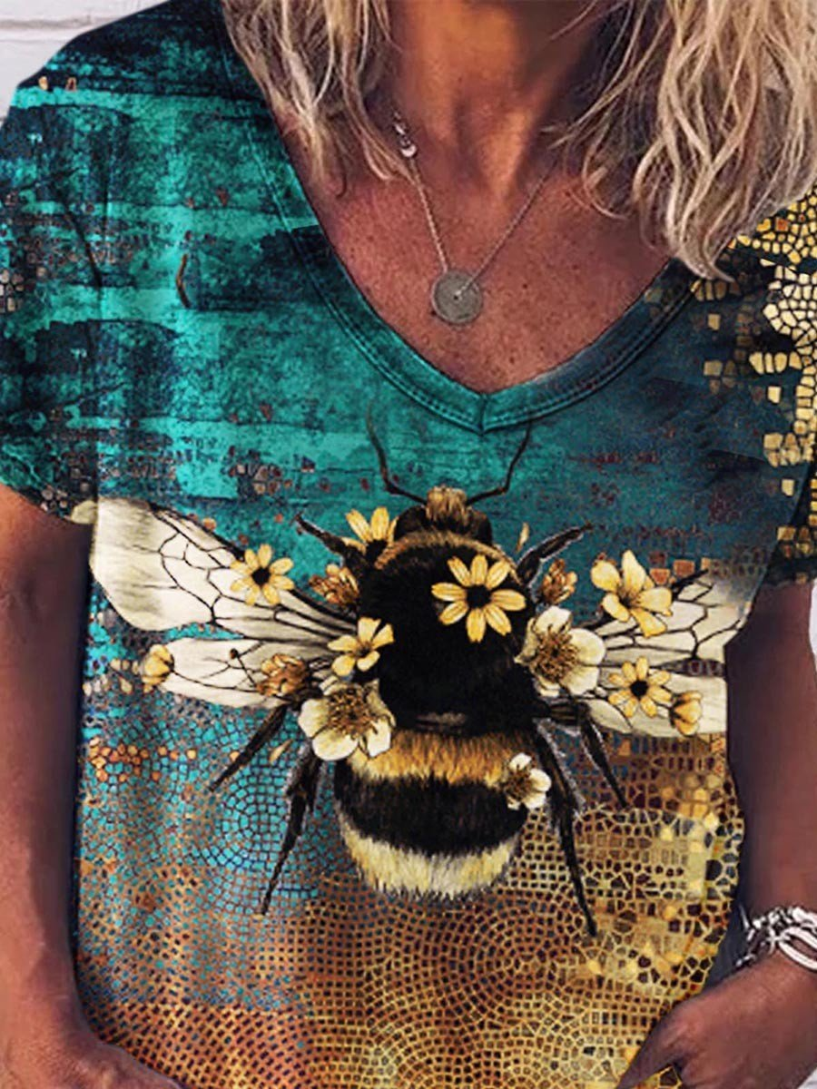 Bee Print Women T-shirt