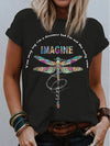 Imagine A Dreamer Dragonfly Pattern Women's T-Shirt