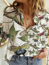 Dragonfly Butterfly Print Women Blouse