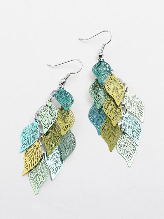 Colorful Small Nine Leaf Earrings
