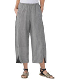 Womens Slim Wide Leg Pants Grey / S