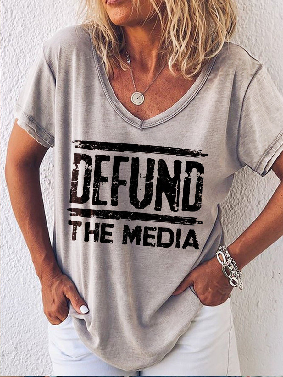 Defund The Media Print Women T-Shirt Colorful / S