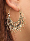 Cobweb Half Circle Pattern Carved Women's Earrings