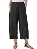 Womens Slim Wide Leg Pants Black / S