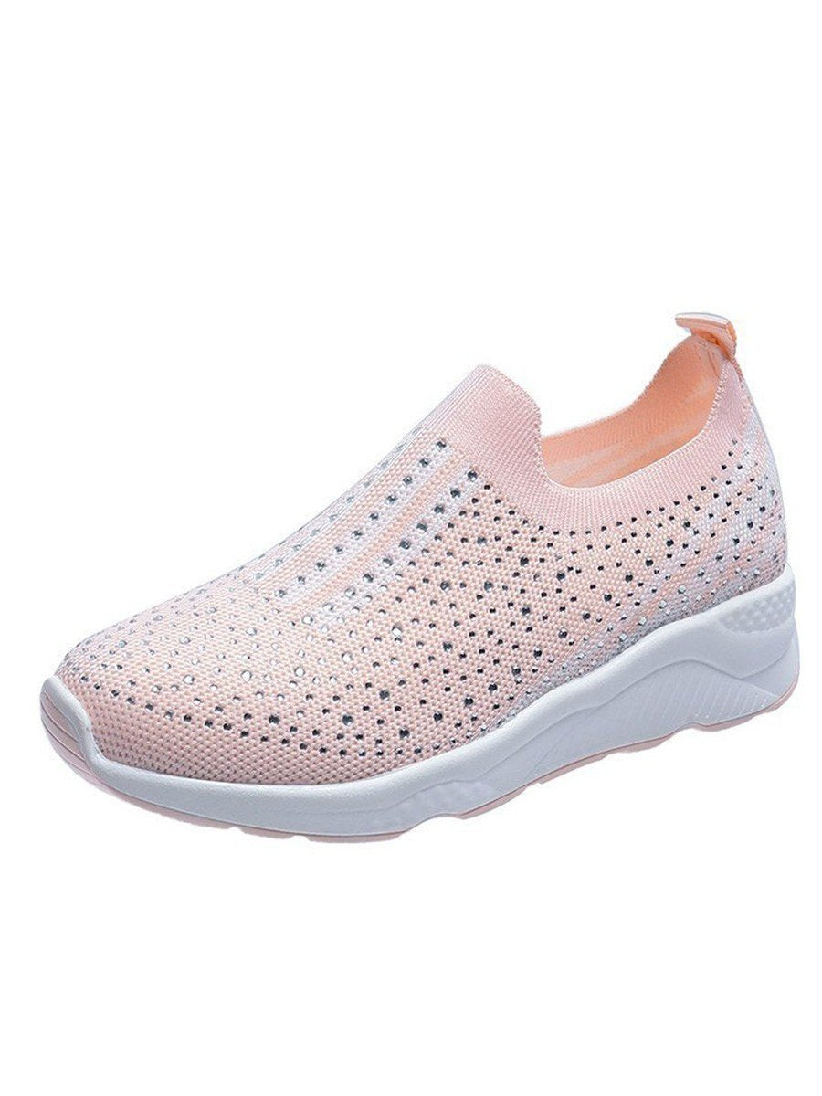 Rhinestone Mesh Flat Womens Shoes Pink / 35