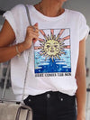 Abstract Sun Print Women T-Shirt Colorful / S