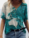 Map Painting Print T-Shirt Colorful / S
