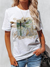 Dragonfly Floral Print Woman T-Shirt