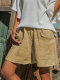 Womens Solid Color Cotton Linen Trouser Skirt Khaki / S