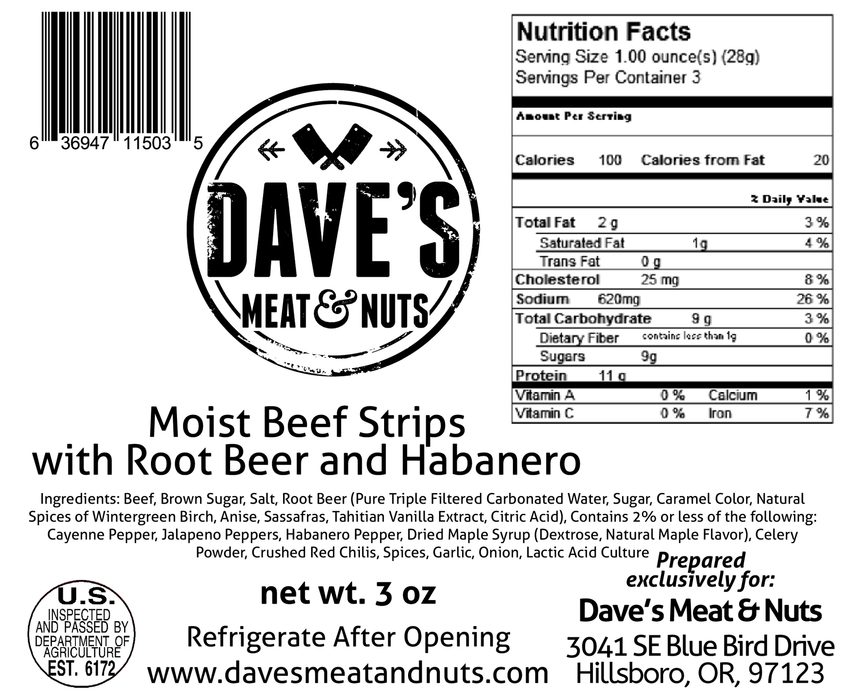 Root Beer Habanero - Smoked Steak Strips - 3 oz
