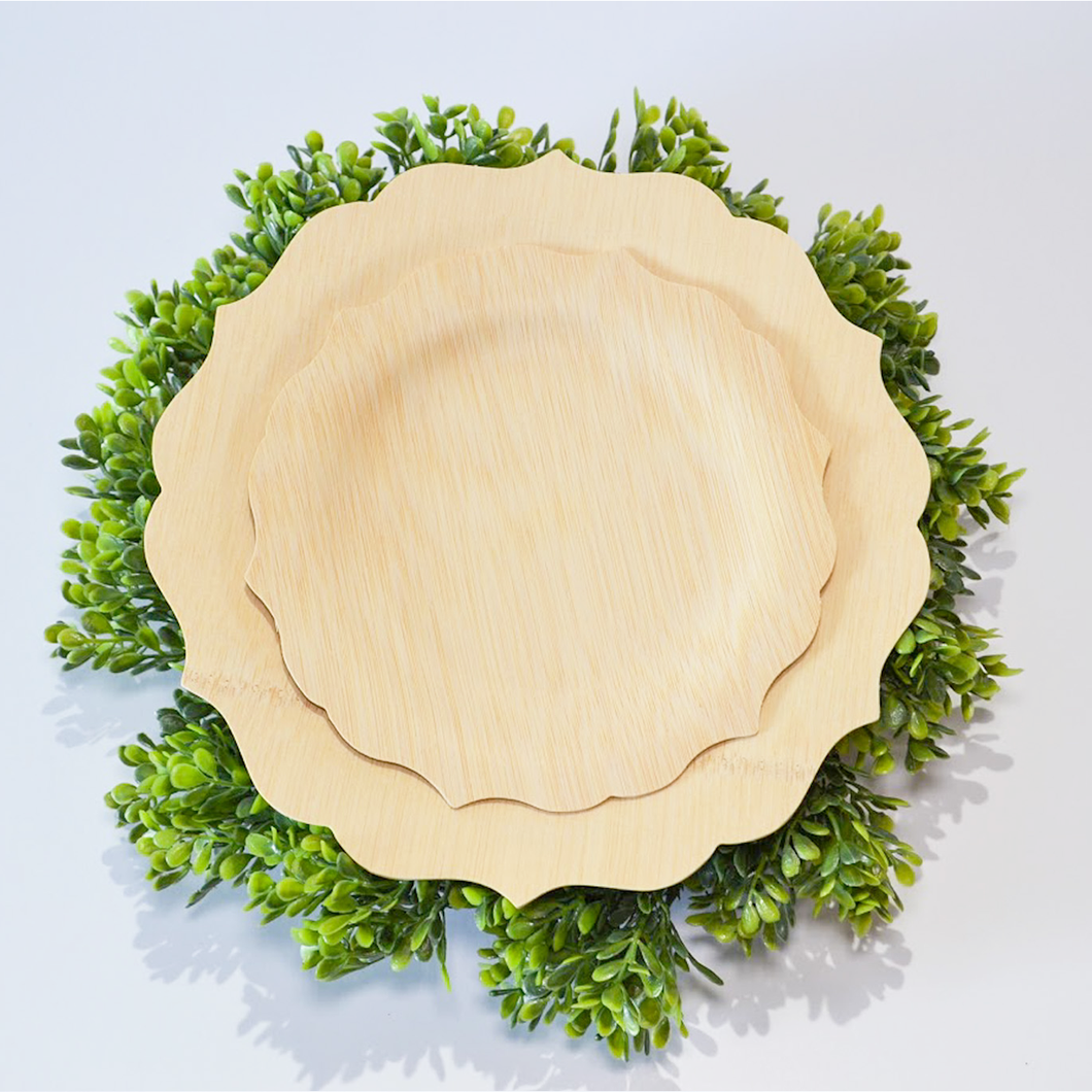 Fancy Compostable Bamboo Plates (Set of 8)