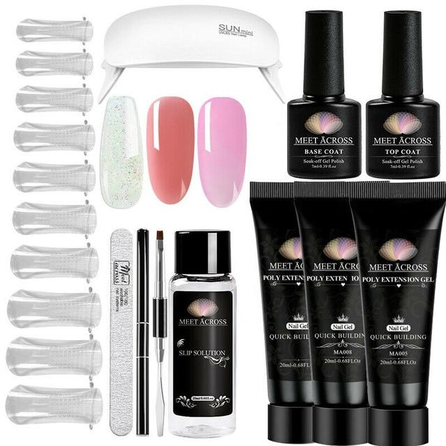 MEET ACROSS Poly UV Gel Set Nail Gel Kit 20/30ml Crystal Builder Clear Colors Gel with Lamp Gel Nail Polish For Nail Extensions SMART TECH & ACCS