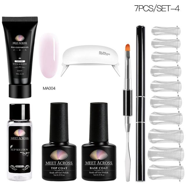MEET ACROSS Poly UV Gel Set Nail Gel Kit 20/30ml Crystal Builder Clear Colors Gel with Lamp Gel Nail Polish For Nail Extensions SMART TECH & ACCS ZH07085 United States