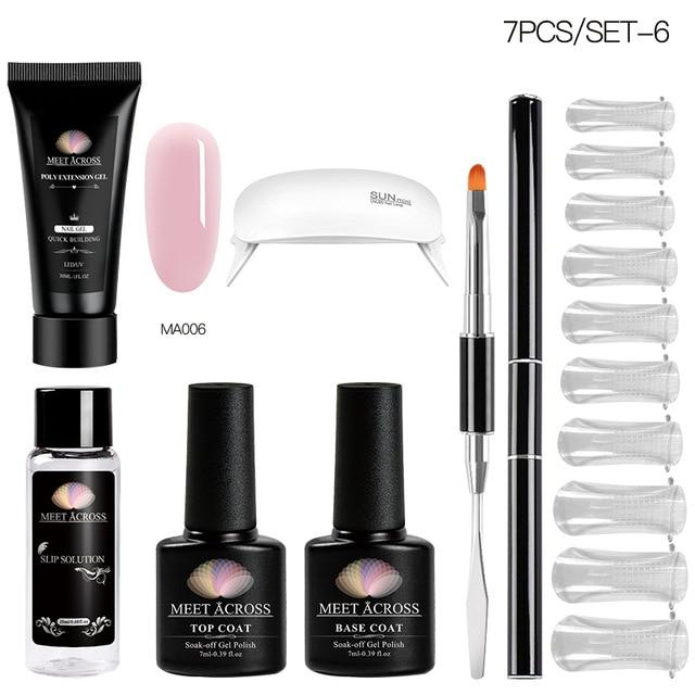 MEET ACROSS Poly UV Gel Set Nail Gel Kit 20/30ml Crystal Builder Clear Colors Gel with Lamp Gel Nail Polish For Nail Extensions SMART TECH & ACCS ZH07087 United States