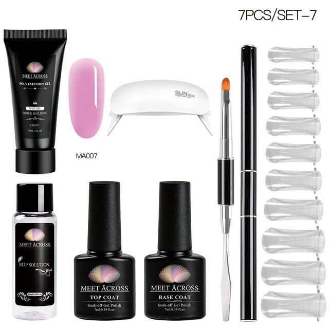 MEET ACROSS Poly UV Gel Set Nail Gel Kit 20/30ml Crystal Builder Clear Colors Gel with Lamp Gel Nail Polish For Nail Extensions SMART TECH & ACCS ZH07088 China