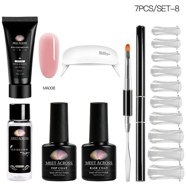 MEET ACROSS Poly UV Gel Set Nail Gel Kit 20/30ml Crystal Builder Clear Colors Gel with Lamp Gel Nail Polish For Nail Extensions SMART TECH & ACCS ZH07089 United States