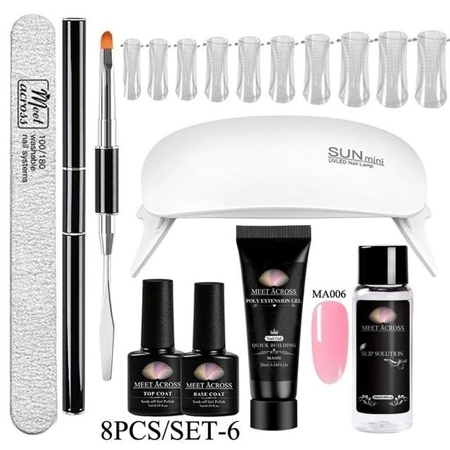 MEET ACROSS Poly UV Gel Set Nail Gel Kit 20/30ml Crystal Builder Clear Colors Gel with Lamp Gel Nail Polish For Nail Extensions SMART TECH & ACCS ZH08065 United States
