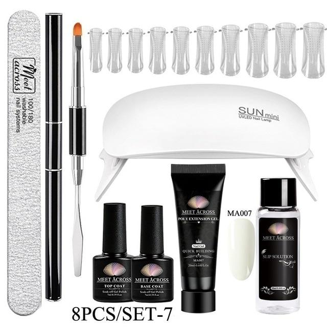 MEET ACROSS Poly UV Gel Set Nail Gel Kit 20/30ml Crystal Builder Clear Colors Gel with Lamp Gel Nail Polish For Nail Extensions SMART TECH & ACCS ZH08066 United States