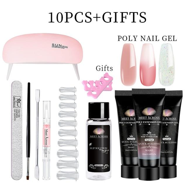 MEET ACROSS Poly UV Gel Set Nail Gel Kit 20/30ml Crystal Builder Clear Colors Gel with Lamp Gel Nail Polish For Nail Extensions SMART TECH & ACCS ZH13832 United States