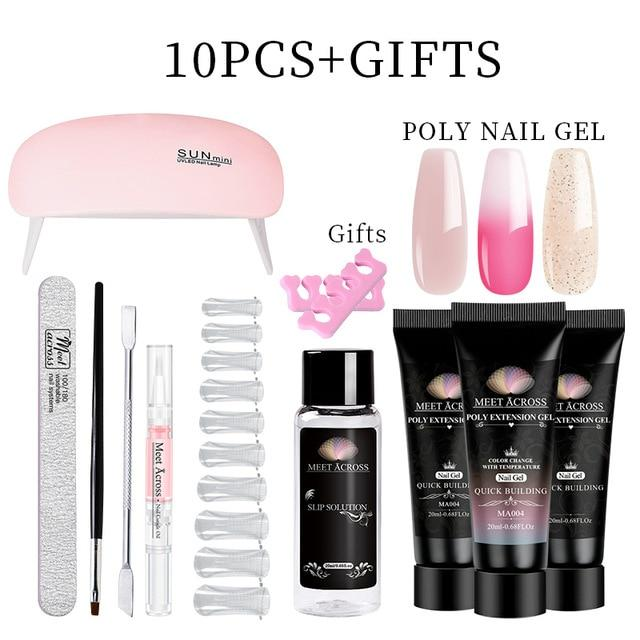 MEET ACROSS Poly UV Gel Set Nail Gel Kit 20/30ml Crystal Builder Clear Colors Gel with Lamp Gel Nail Polish For Nail Extensions SMART TECH & ACCS ZH13833 China